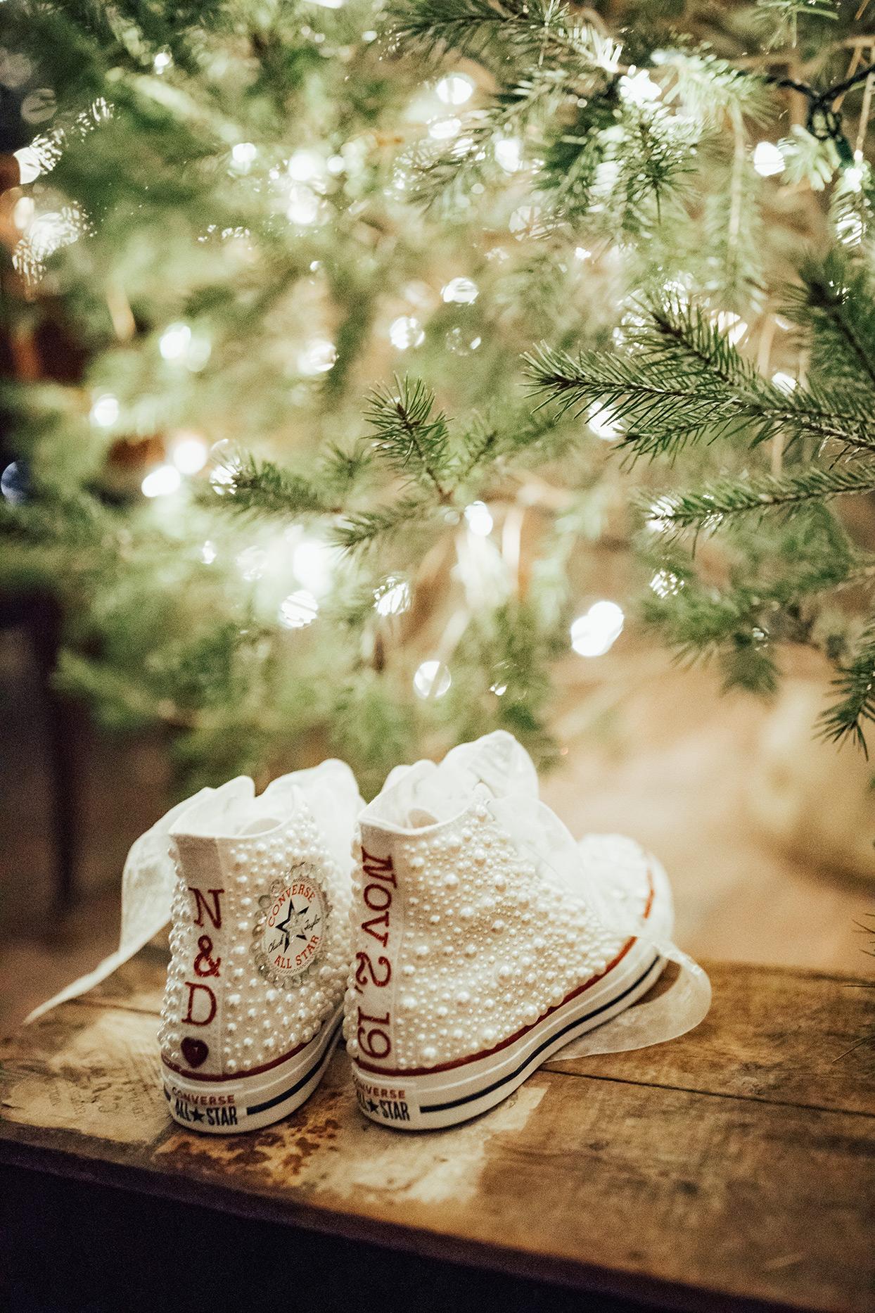 noelle danny wedding bride's bedazzled white converse