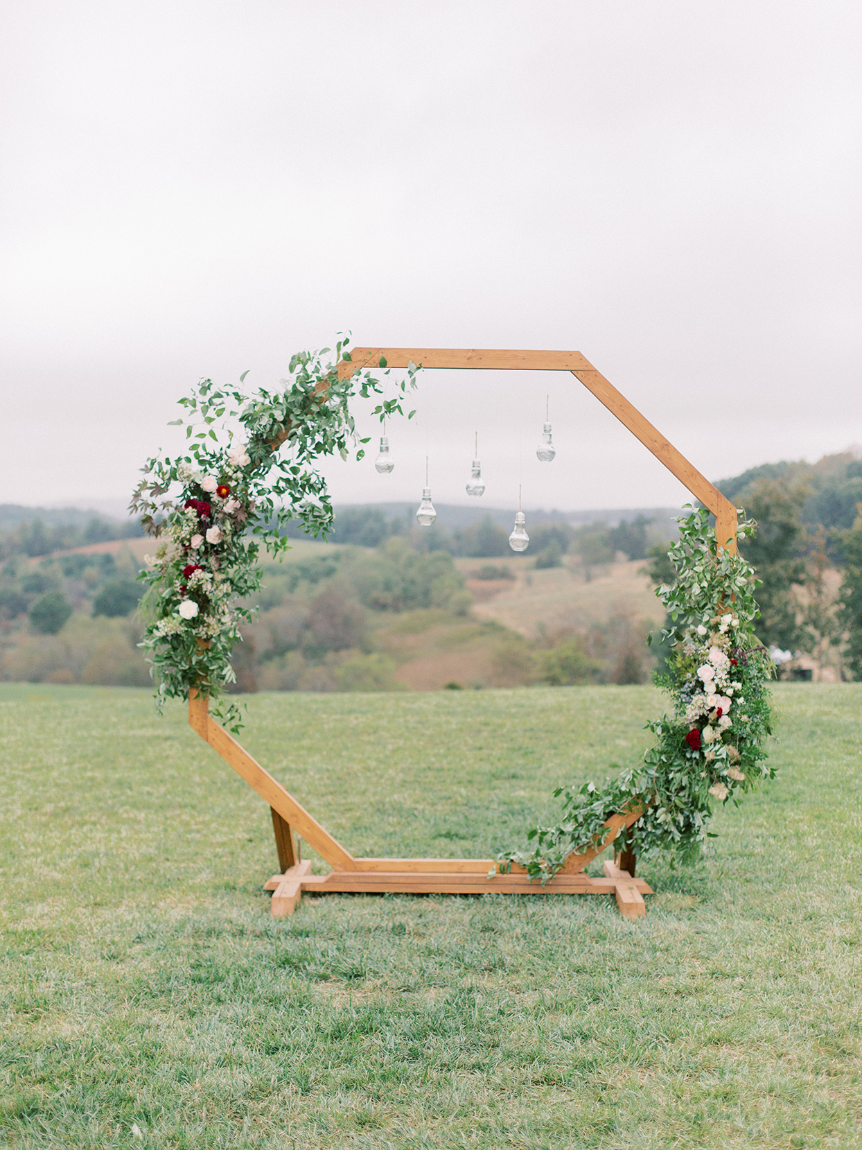 rebecca isaac wedding octagon arch in field