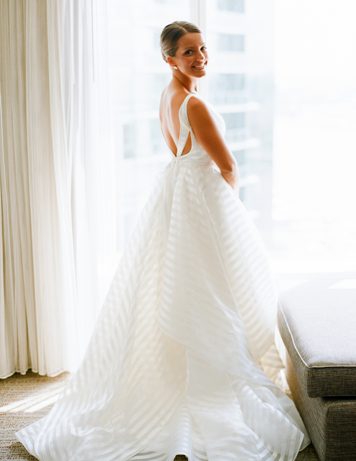 shelby david wedding bride in front of window