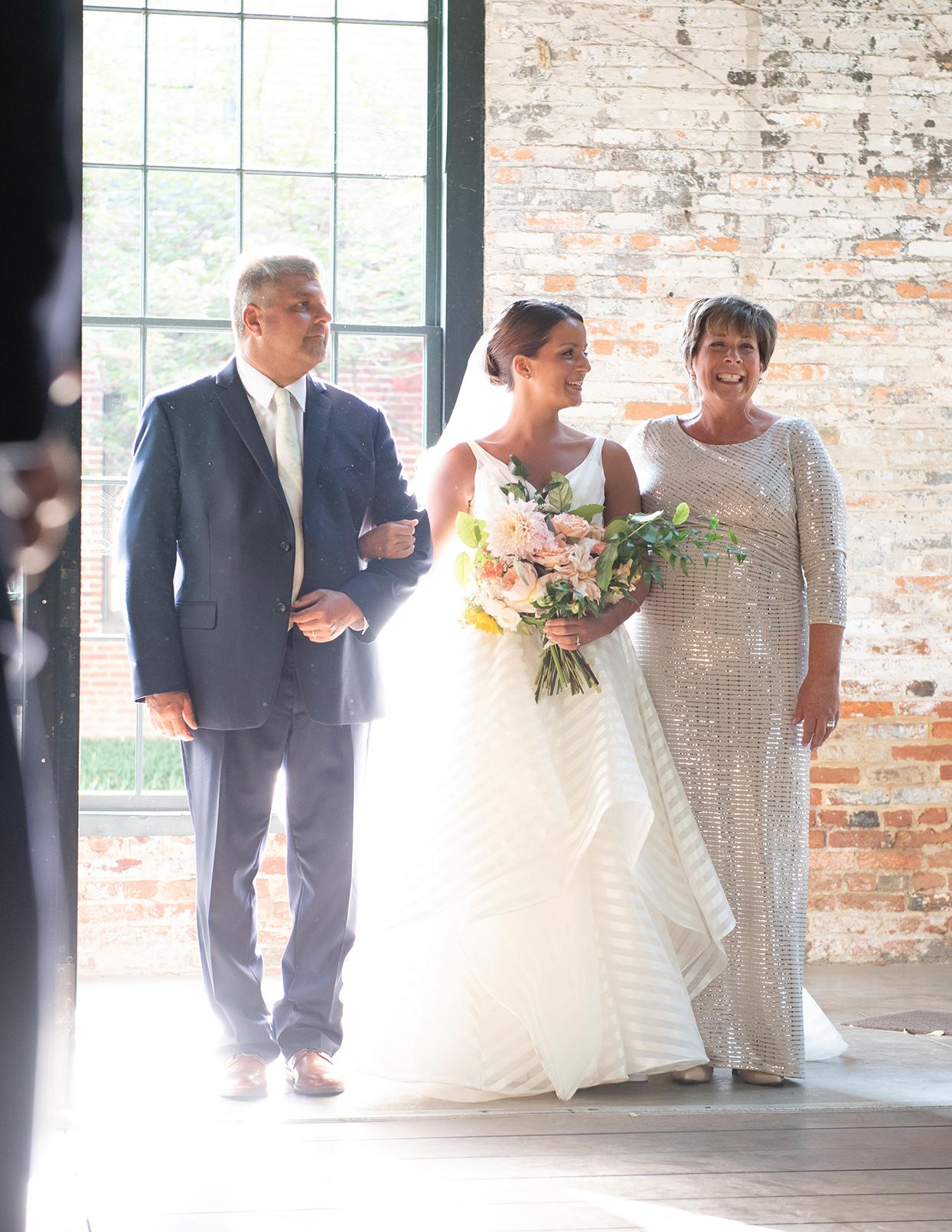 shelby david wedding ceremony bride entrance with parents