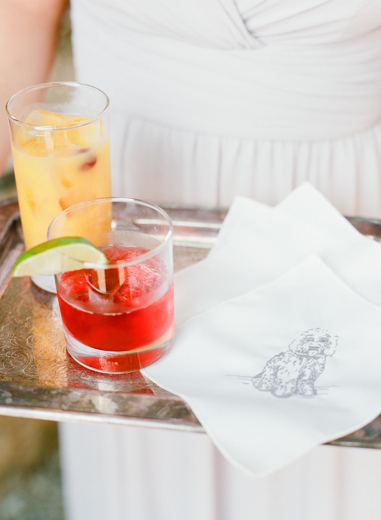 shelby david wedding cocktails on tray with dog napkin