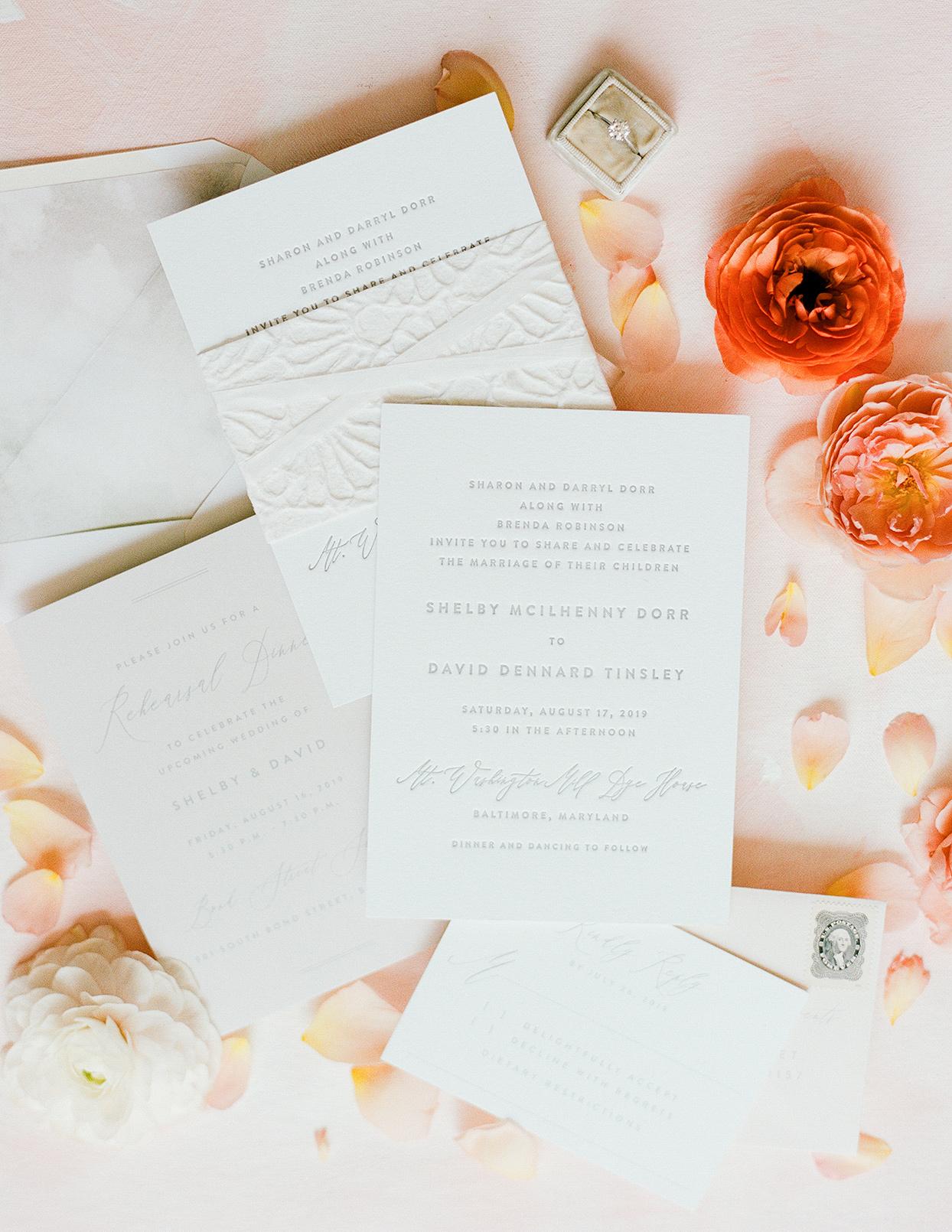 shelby david wedding simple white invites