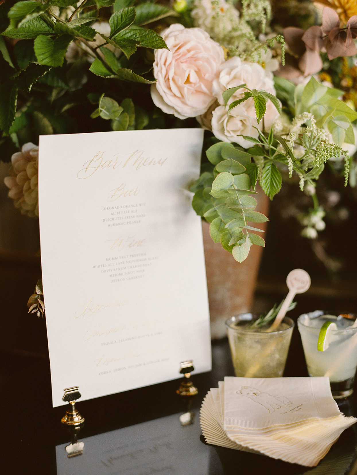 alexandra david wedding bar menu and customized napkins