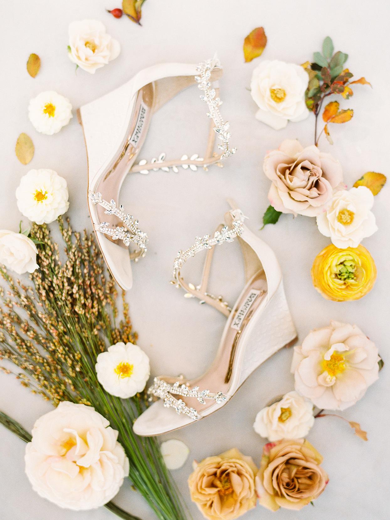alexandra david wedding bride's white jeweled shoes