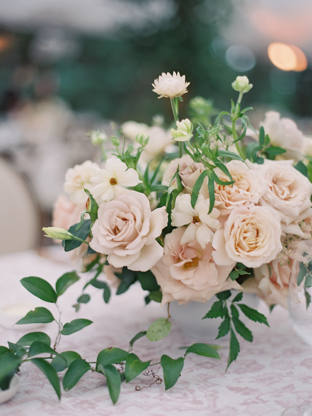 Centerpiece floral arrangements in complex neutrals