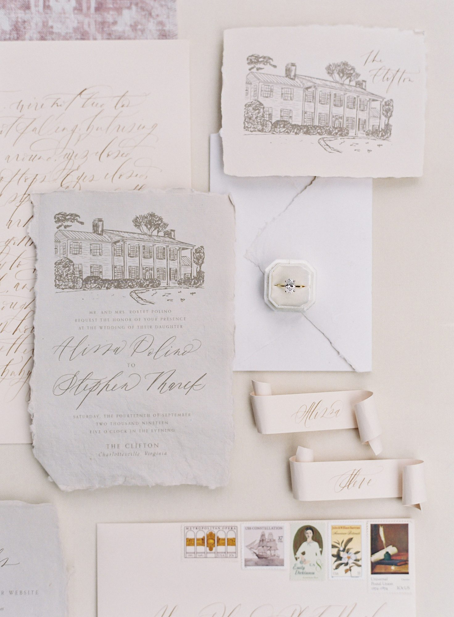 Wedding invitations digitally printed on handmade paper
