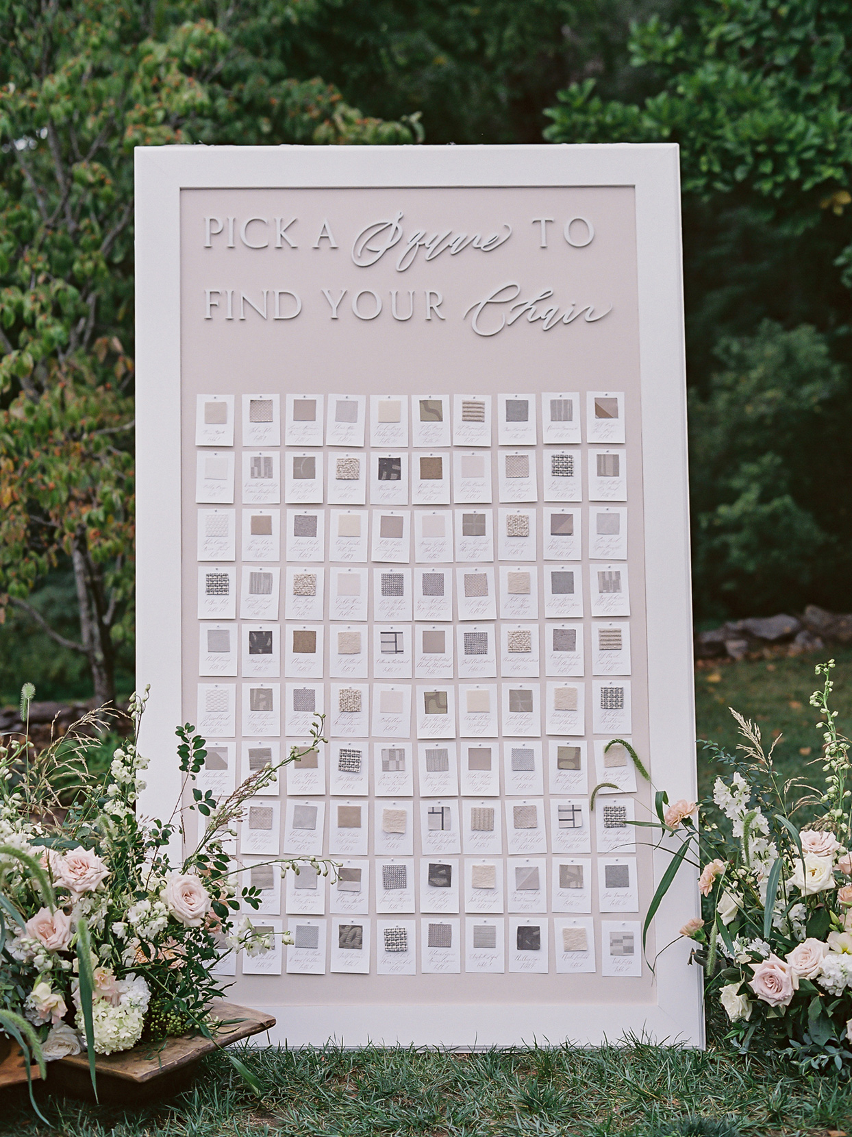 Escort cards on large display