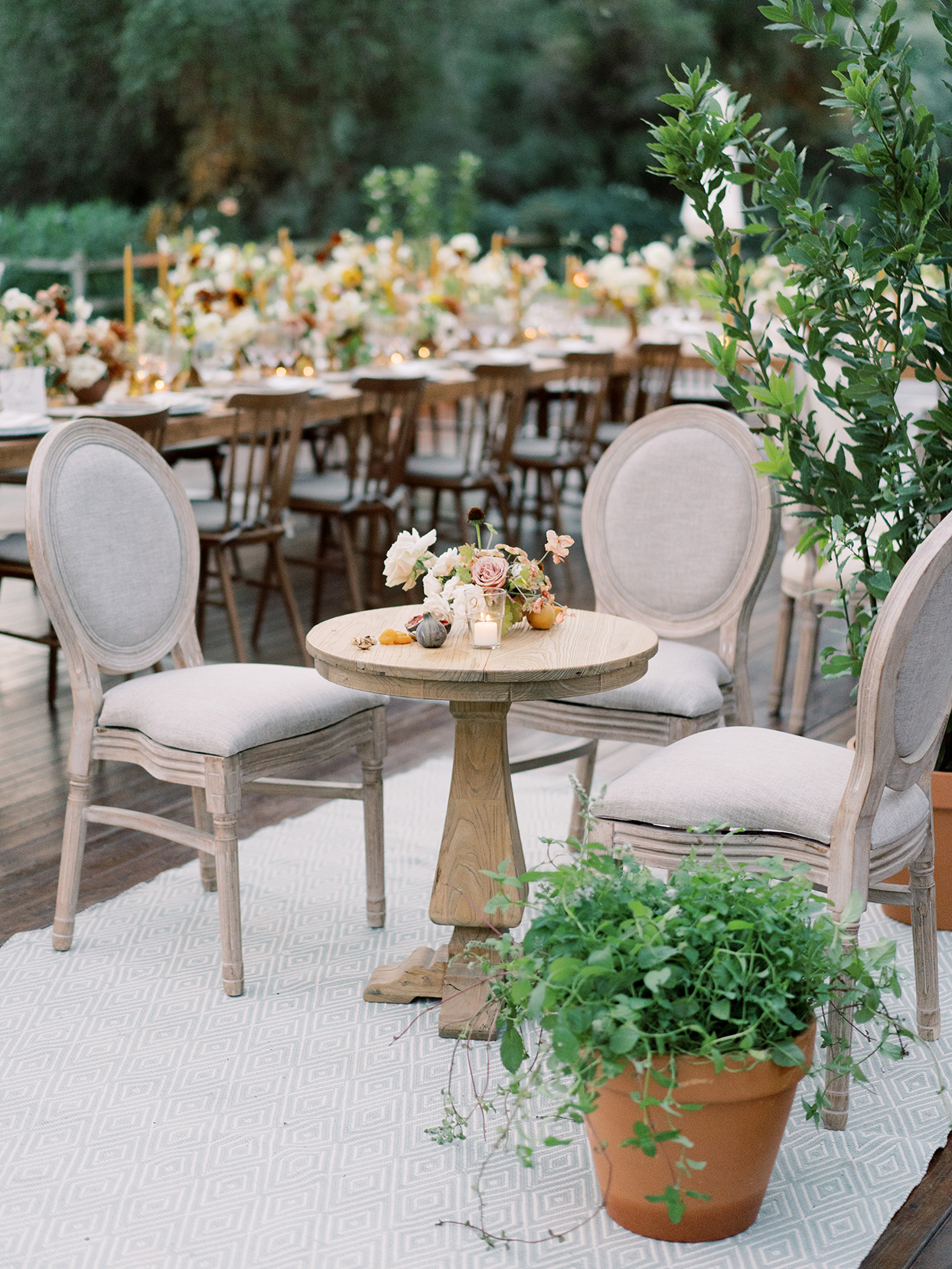 alyssa macia wedding reception neutral notes rustic seating areas