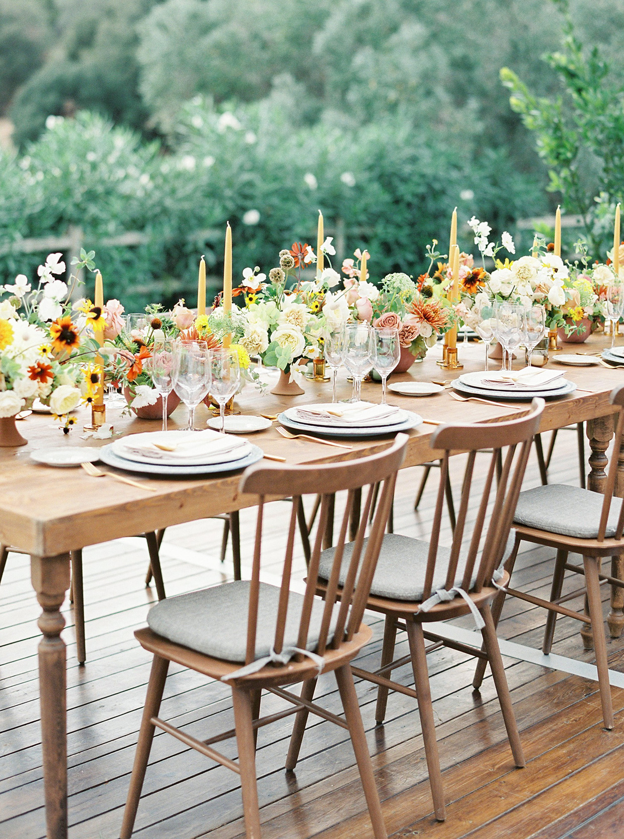 alyssa macia wedding reception long wooden table