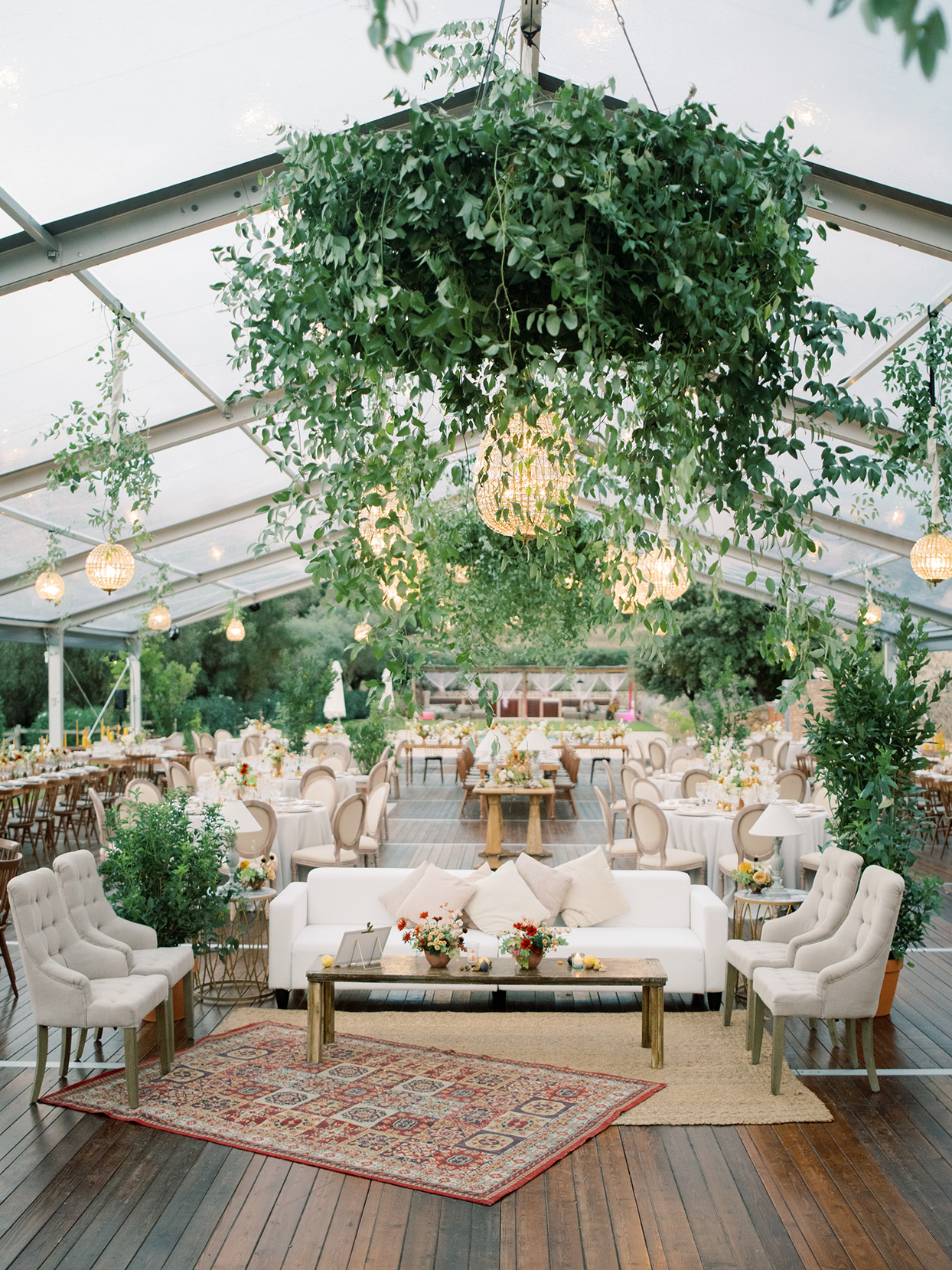 alyssa macia wedding reception elegant lounge area and eating tables inside tent