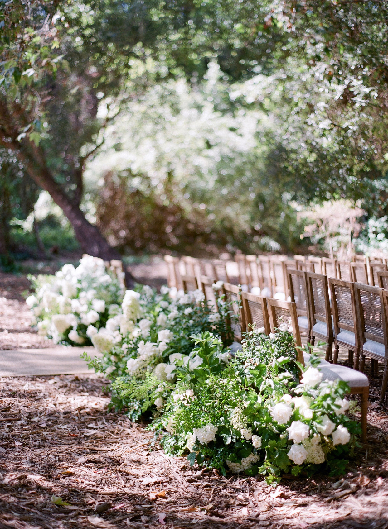 large white flower arrangements lining back row of wedding seating