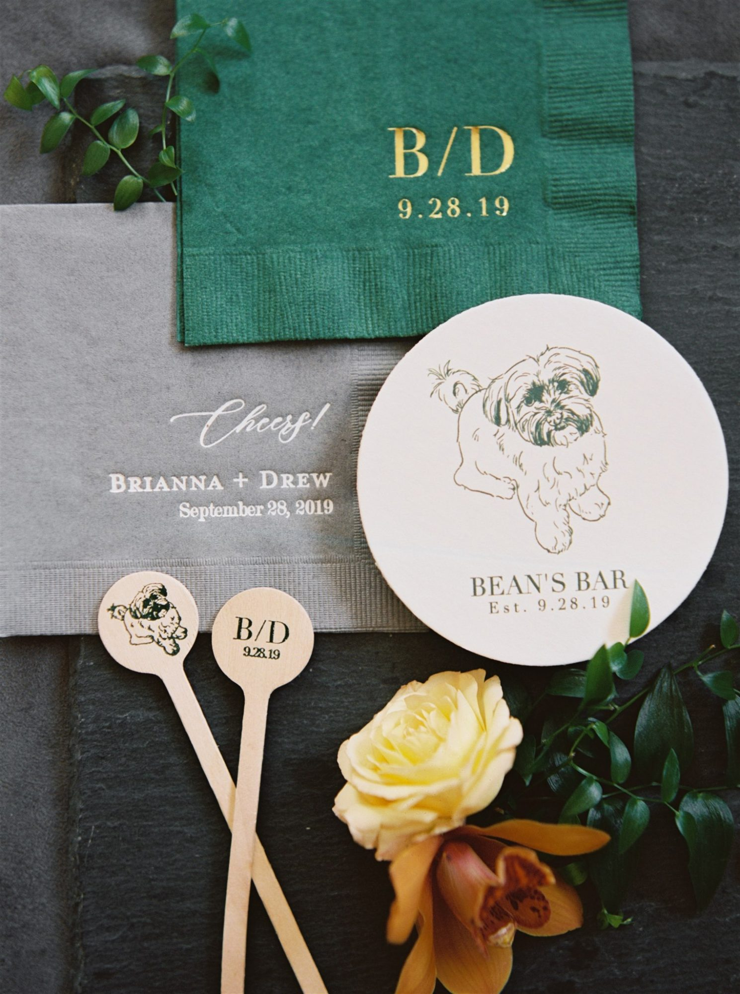 gray and green wedding napkins dog illustration stir sticks coasters