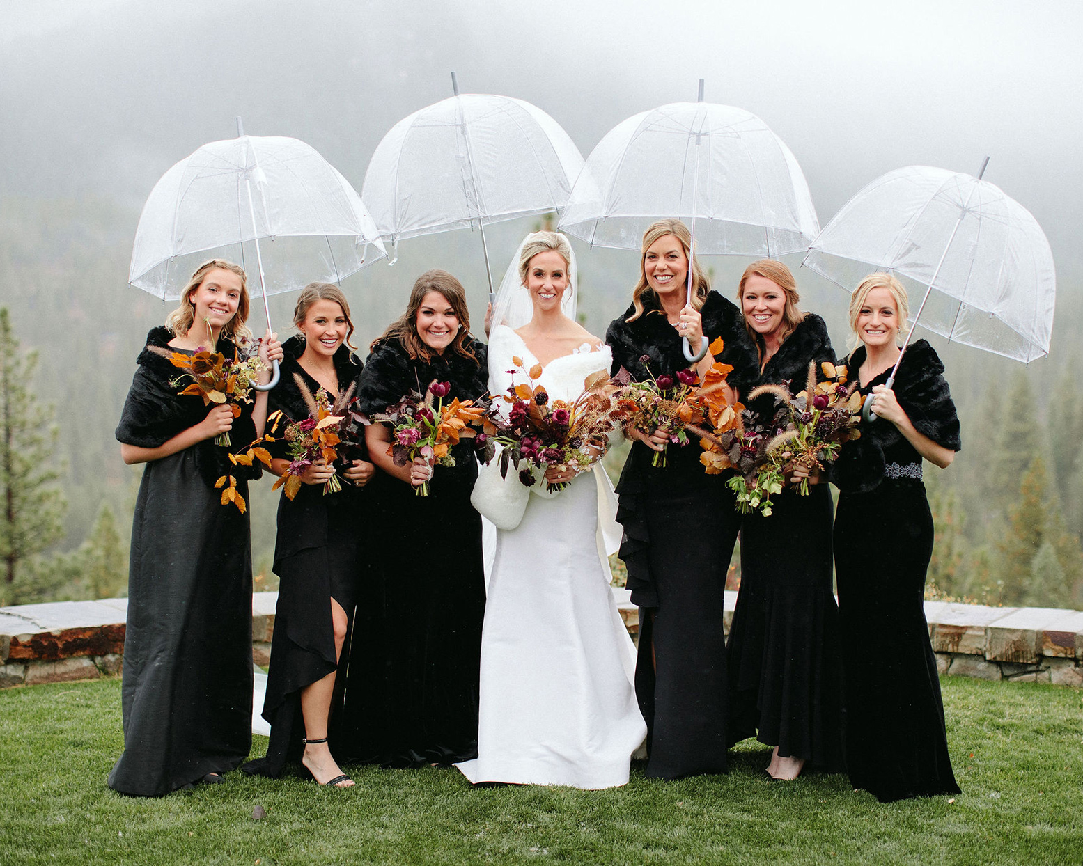 clare tim wedding bridesmaids in black with clear umbrellas