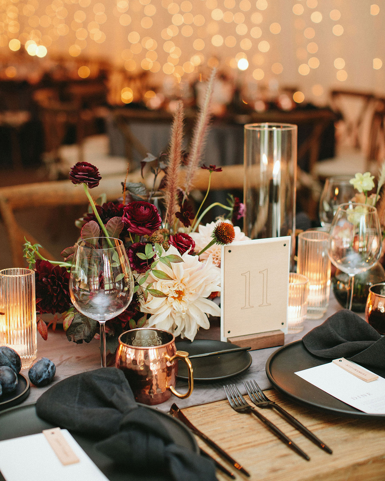 clare tim wedding reception dark and burgundy table setting