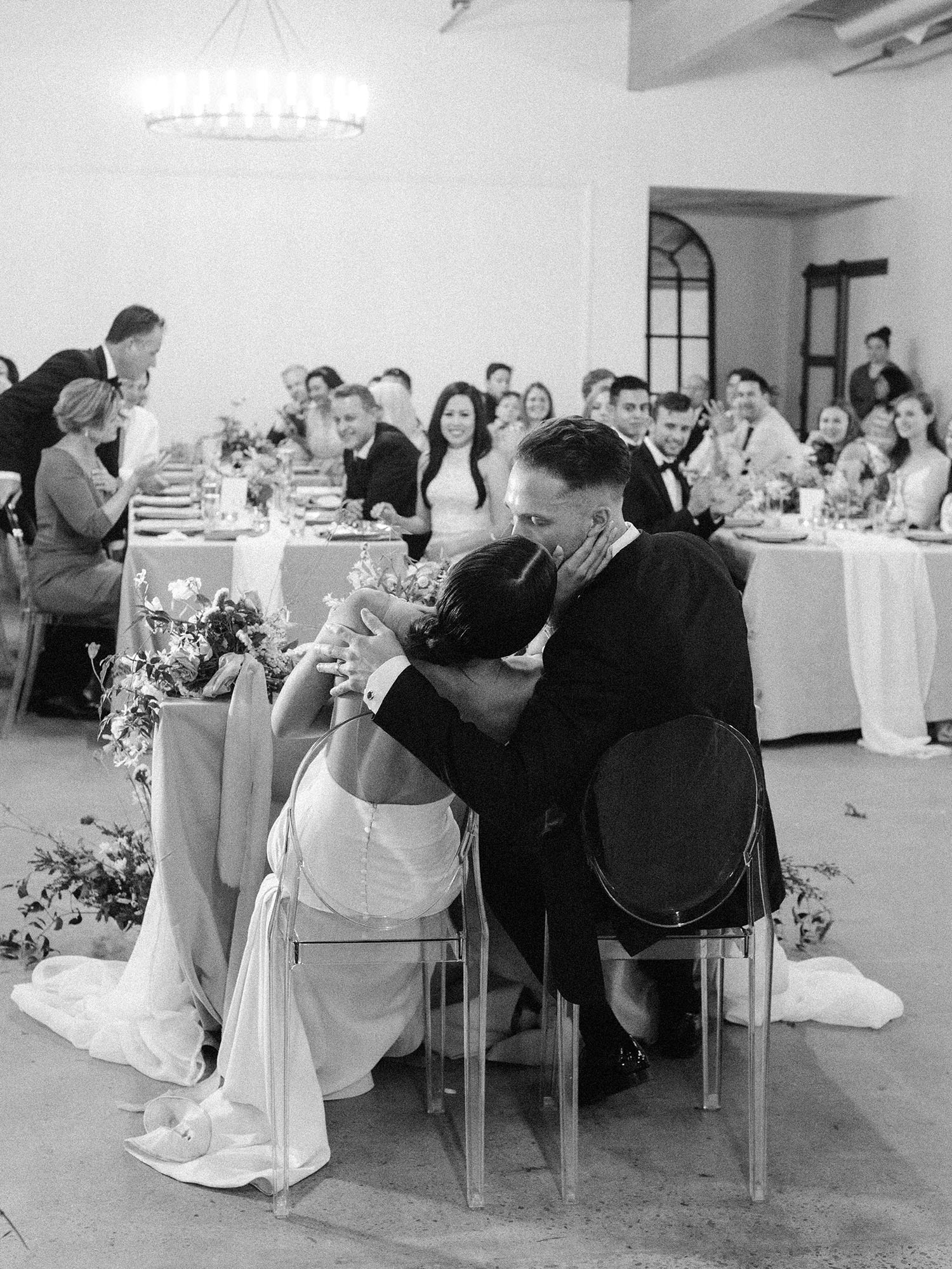 dawn jordan wedding couple kissing reception
