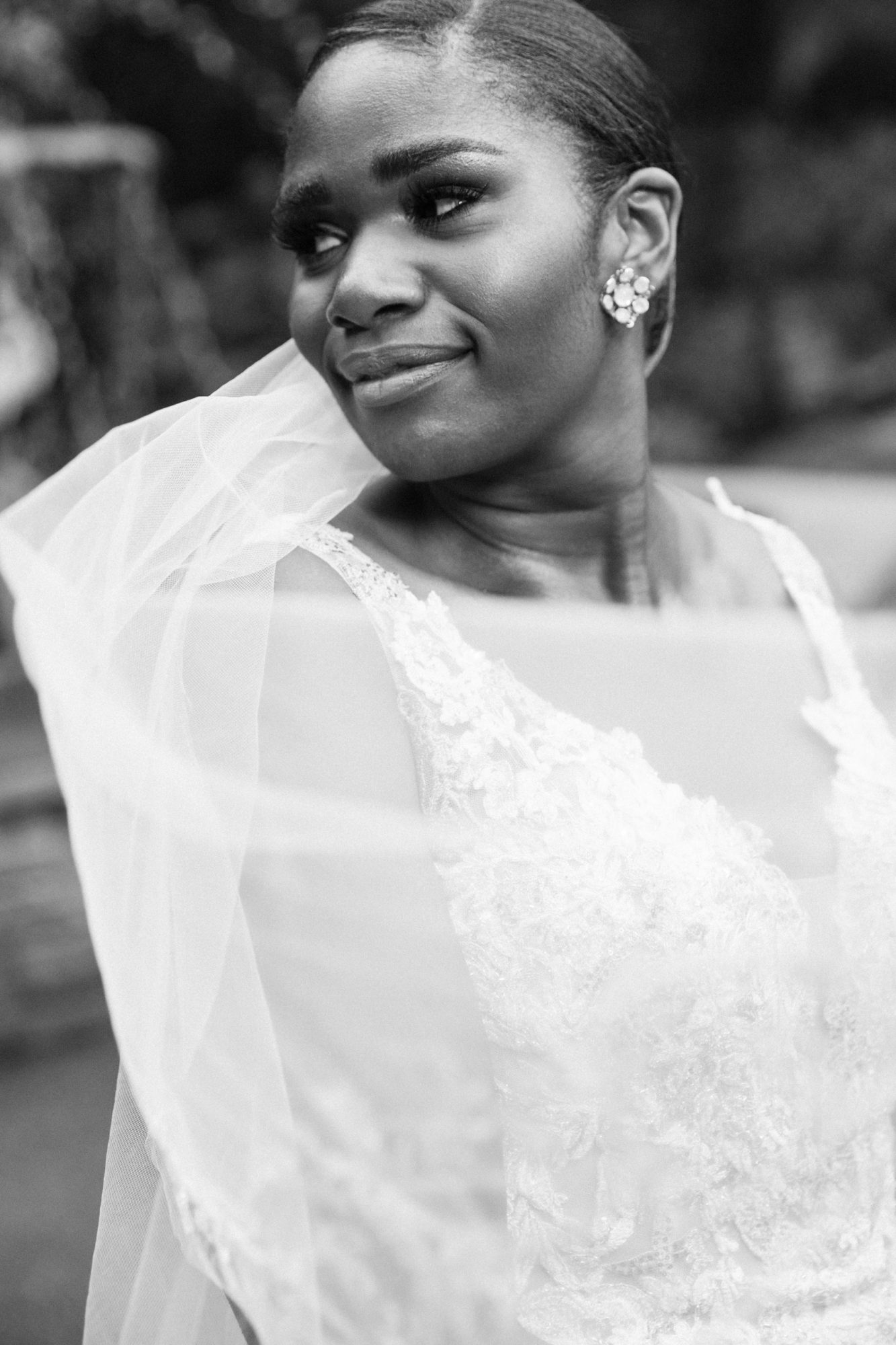 black and white close-up of bride