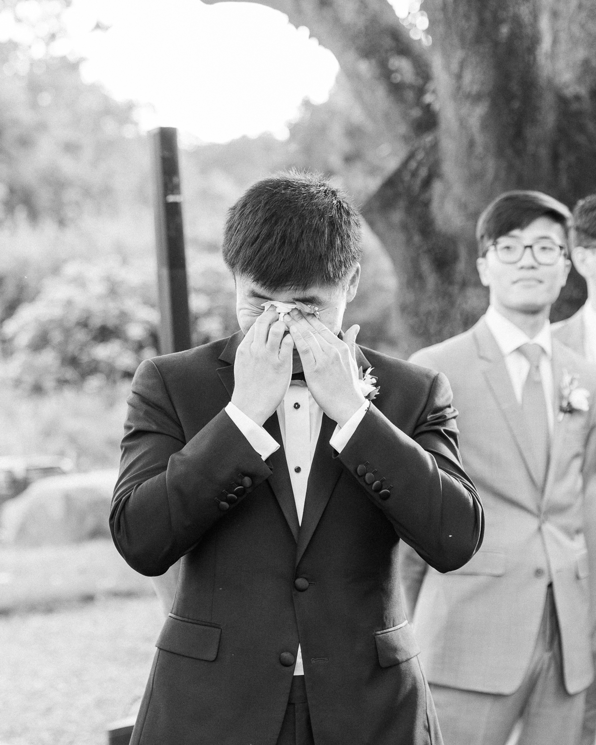 grace john wedding groom crying during ceremony