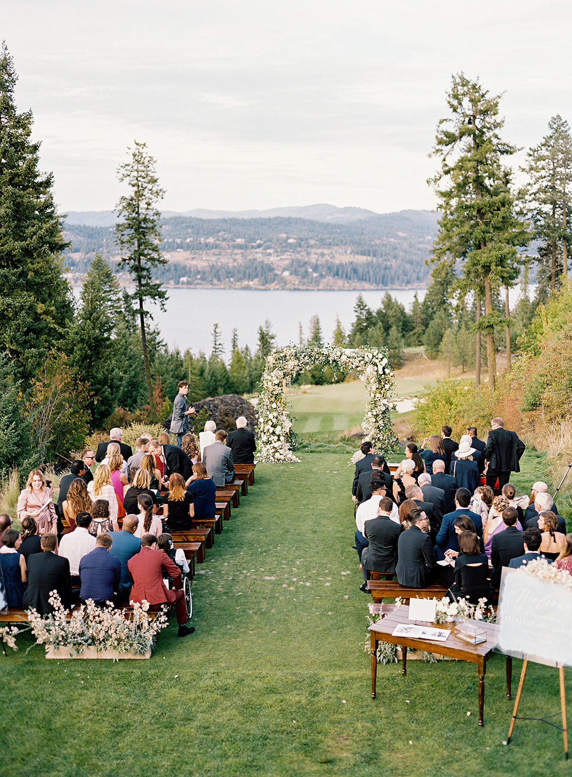 guests seated outside for wedding ceremony