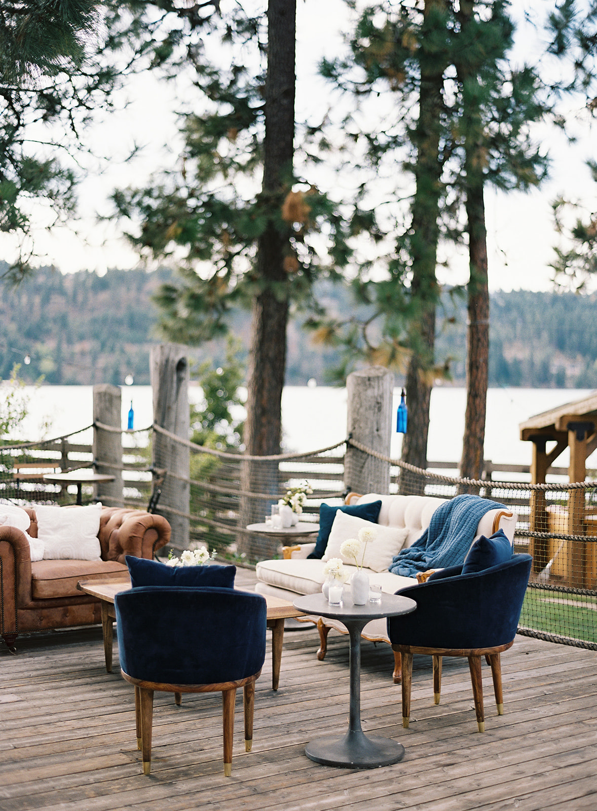 blue and white themed outdoor wedding lounge furniture