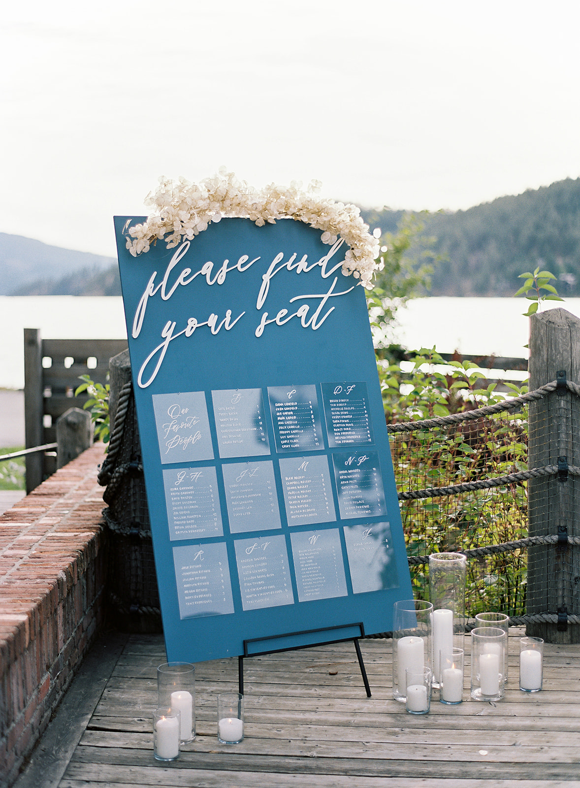 blue and white reception seating chart