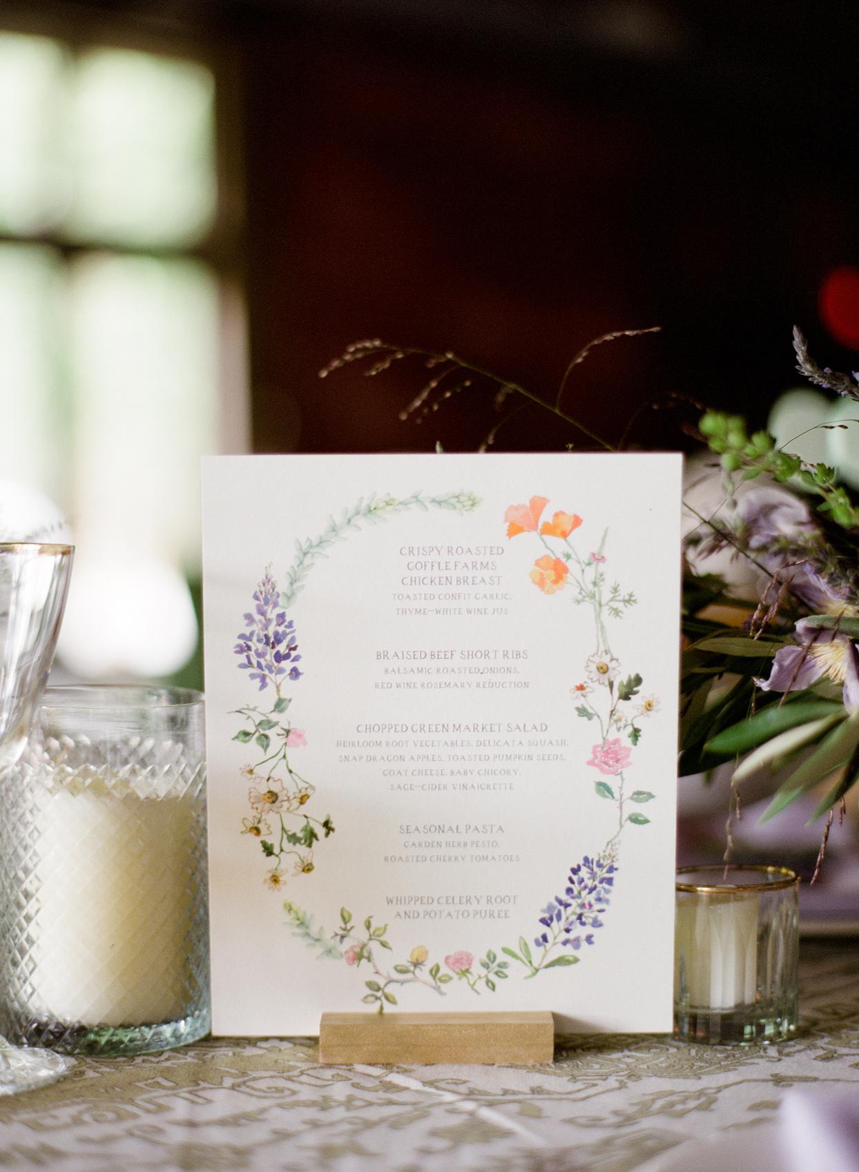 wedding reception menu with botanical illustration