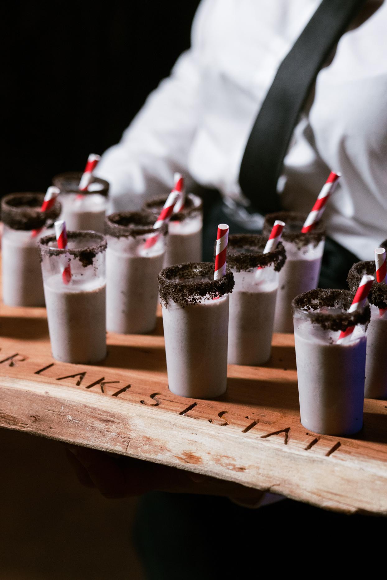 tray of mini oreo milkshakes