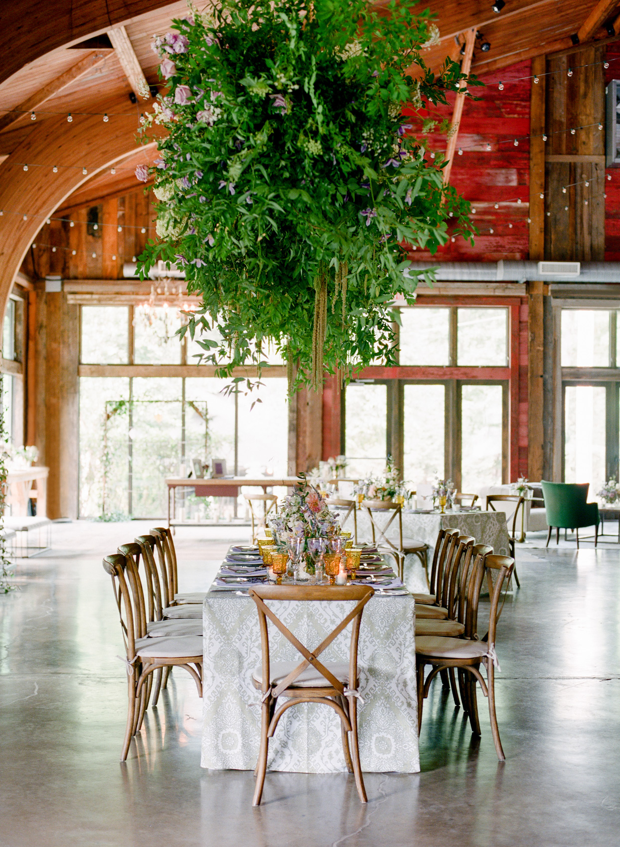 reception space with overgrown hanging garden