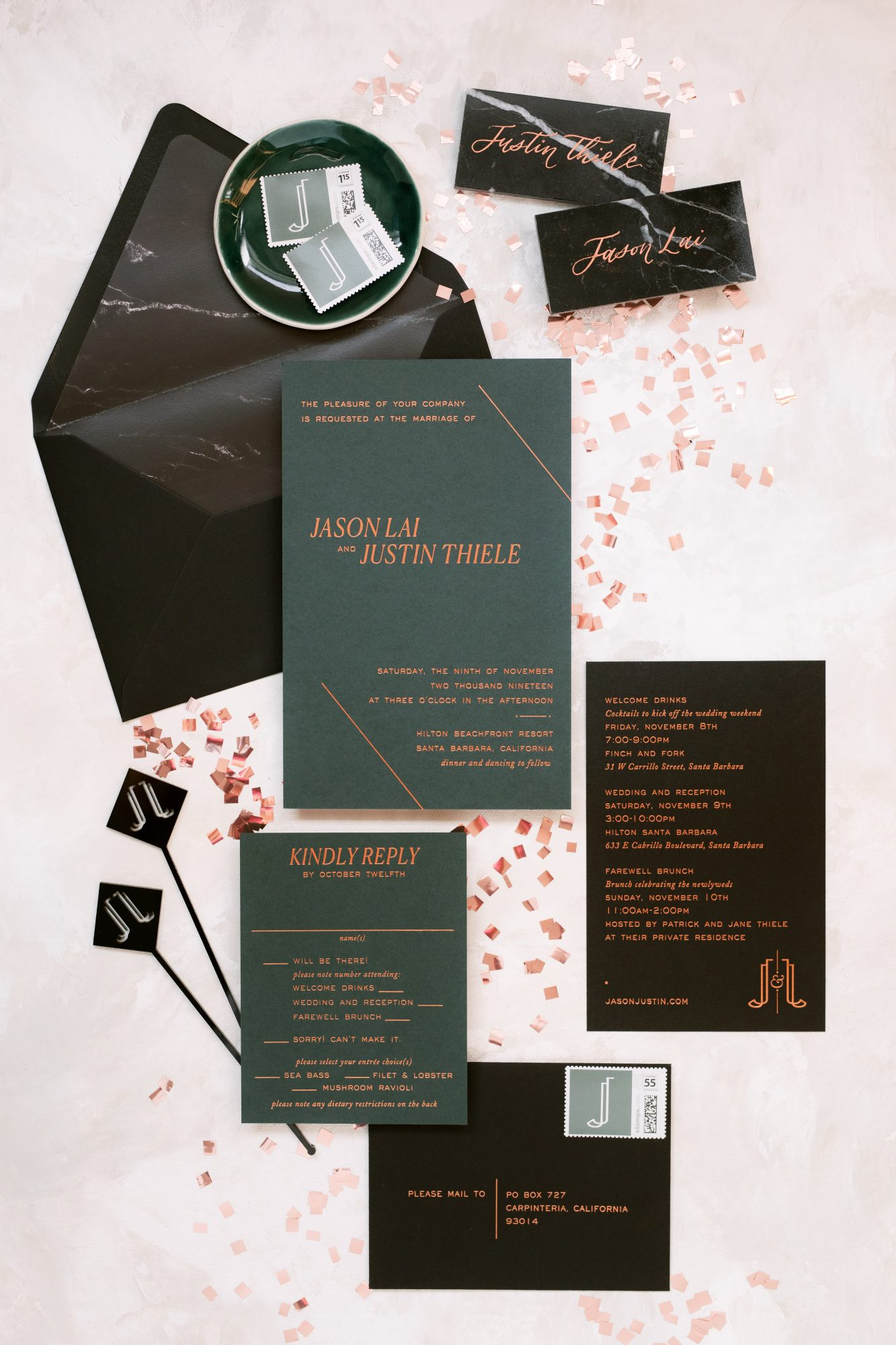 jason justin wedding invites