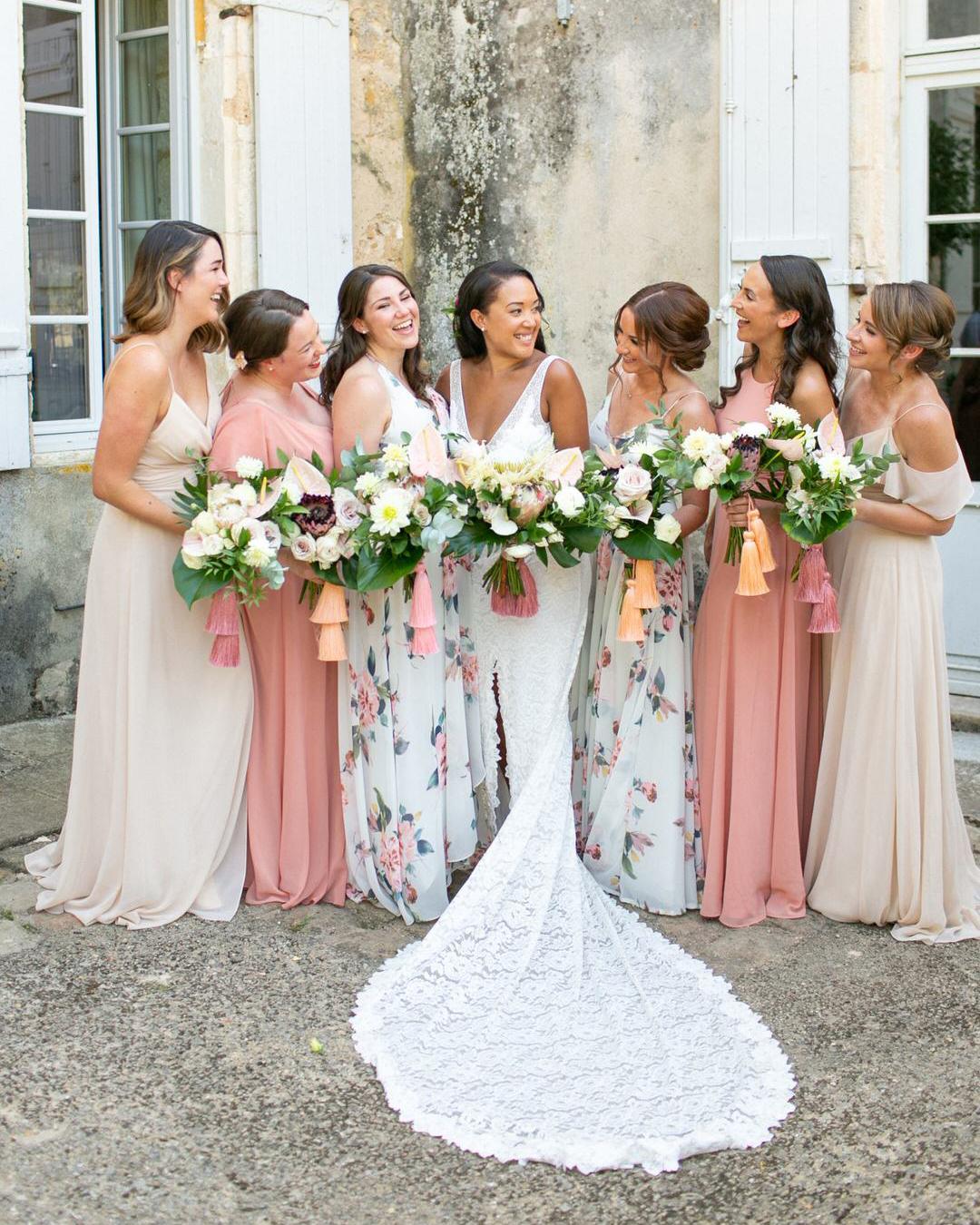 jen tim wedding bridesmaids in pink beige and pastel blue