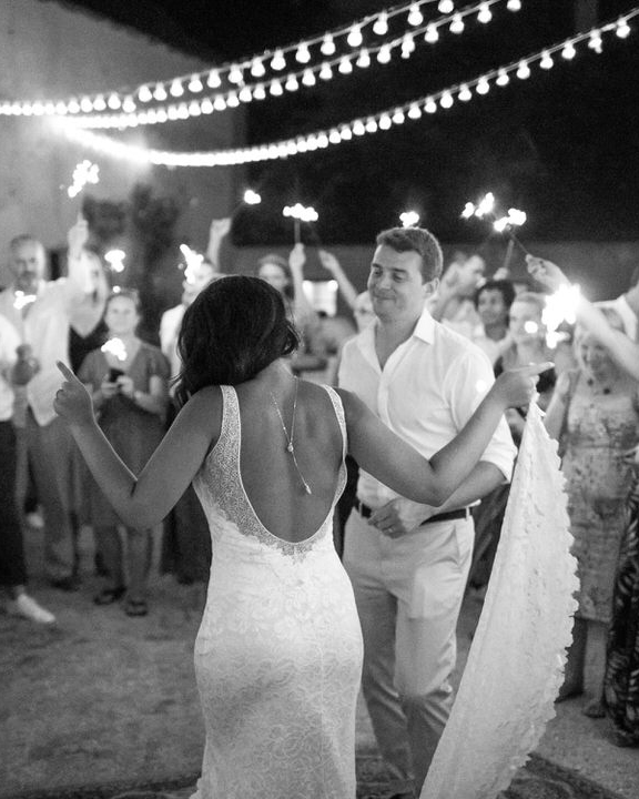 jen tim wedding first dance with sparklers