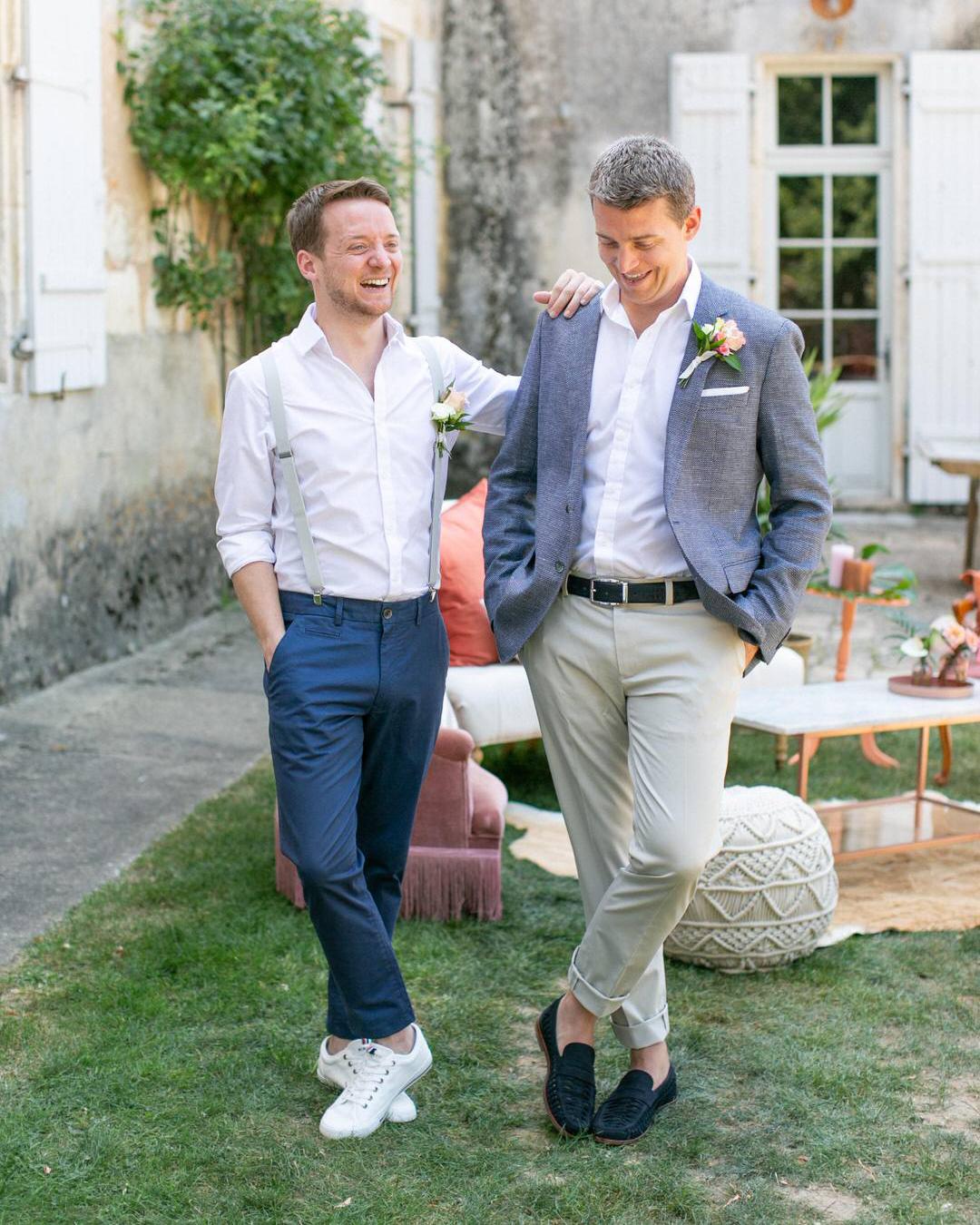 jen tim wedding casual groomsmen