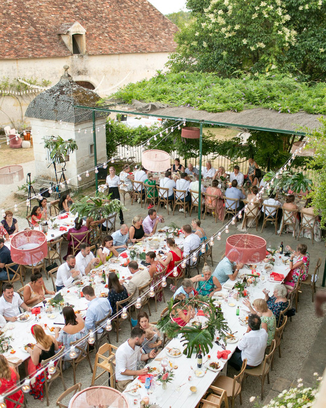 jen tim wedding reception long tables aerial view