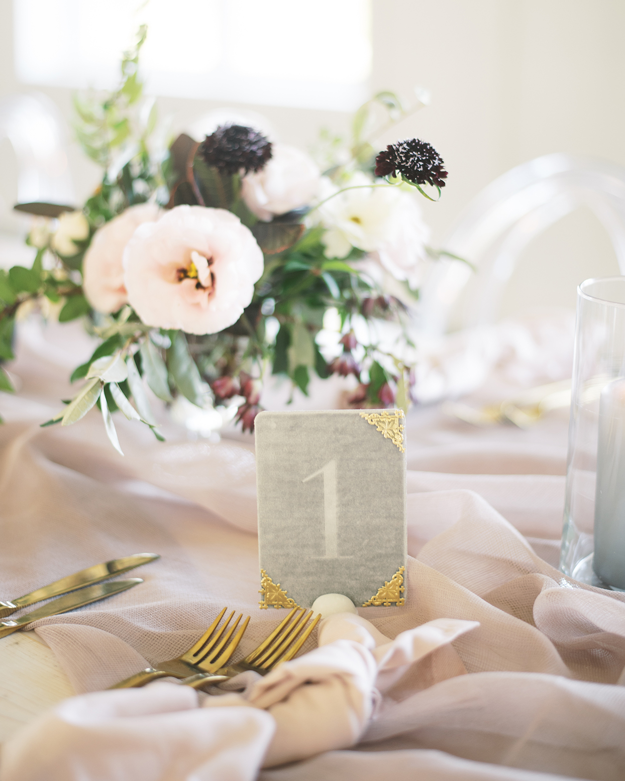 Gray velvet table numbers