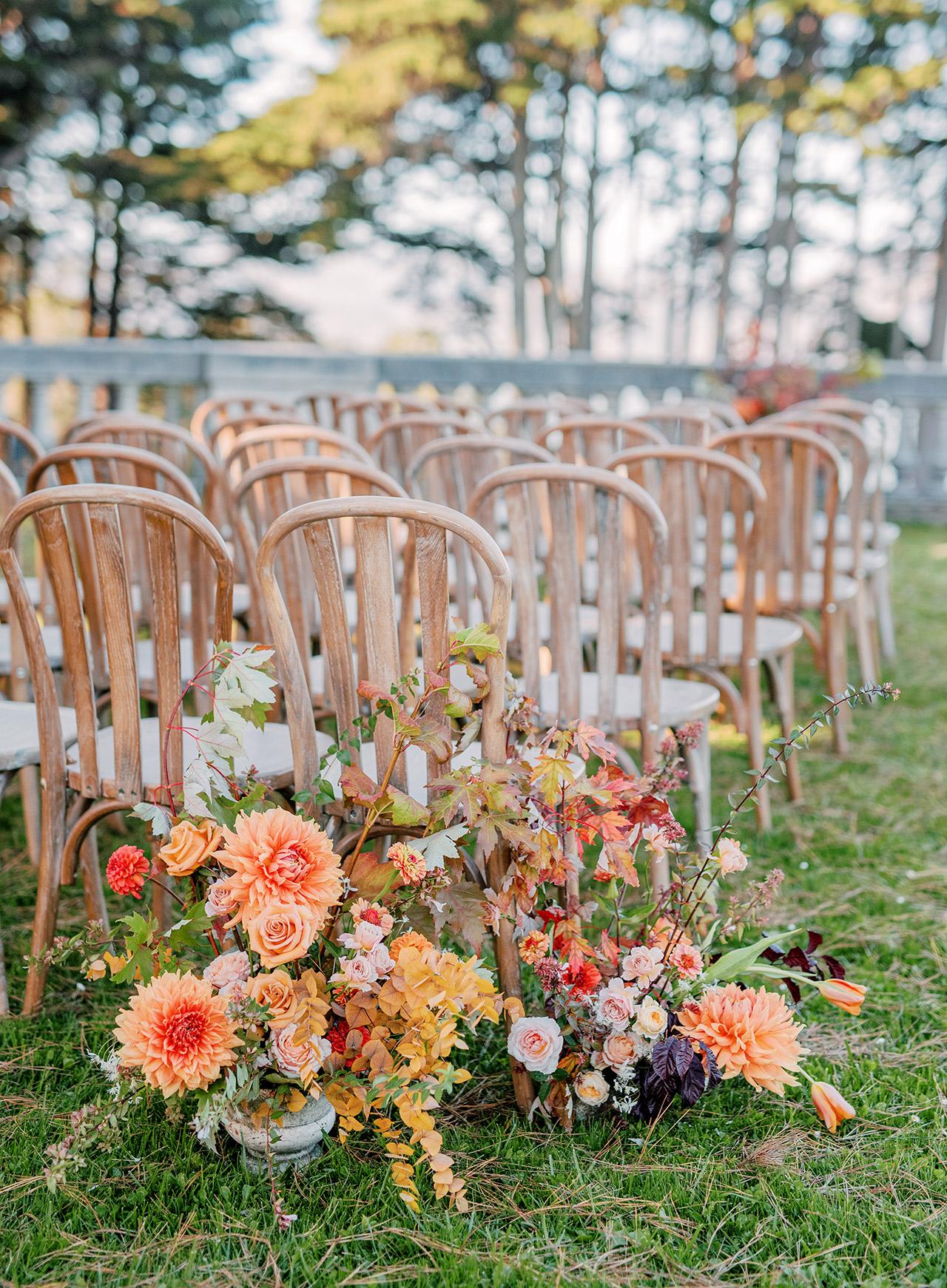 wedding ceremony aisle dahlias maple leaves abelia roses zinnias