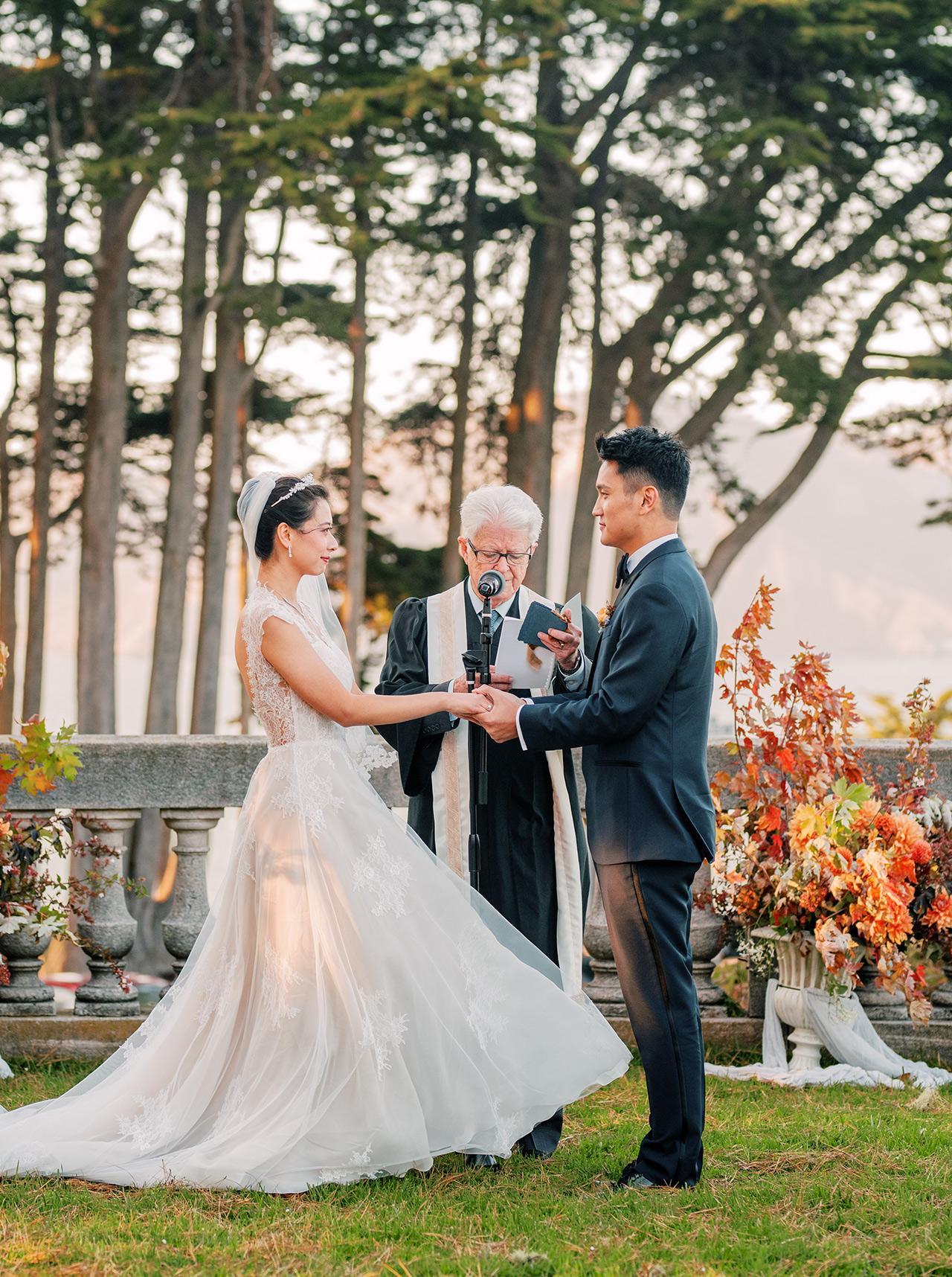 bride groom wedding ceremony vows outdoors