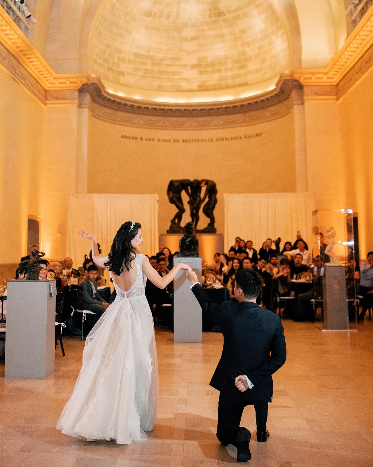 wedding couple reception dance museum hall