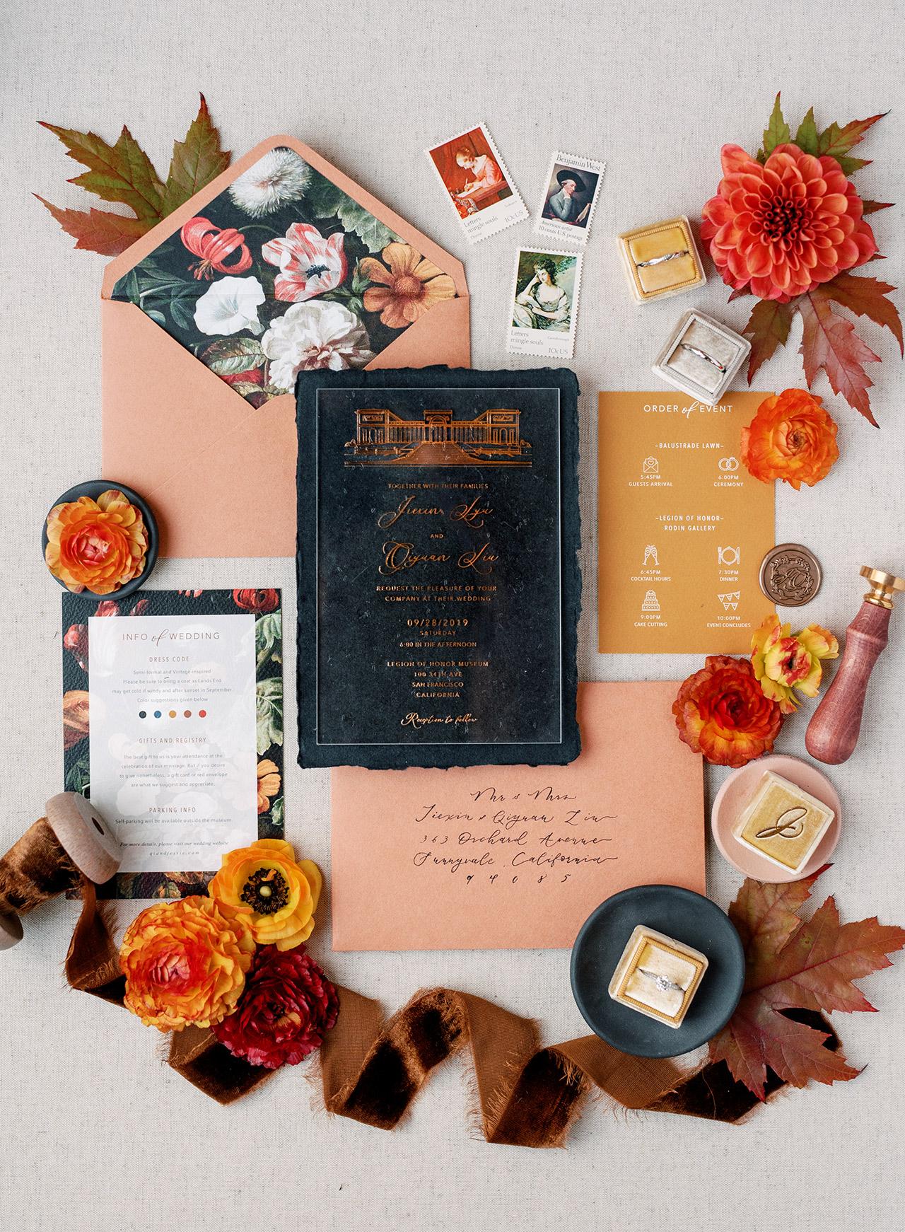 orange blue ginger autumn invitation suite