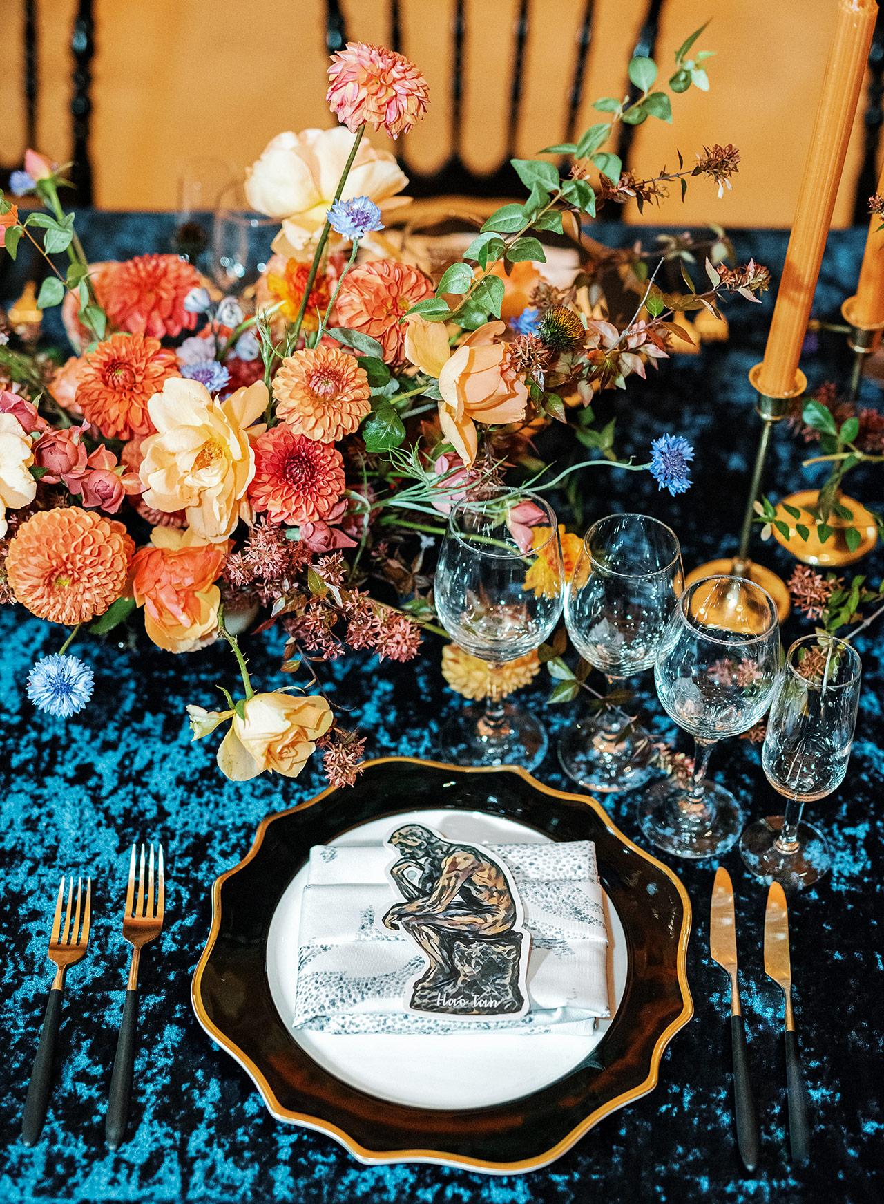 wedding reception table setting onyx gold flatware