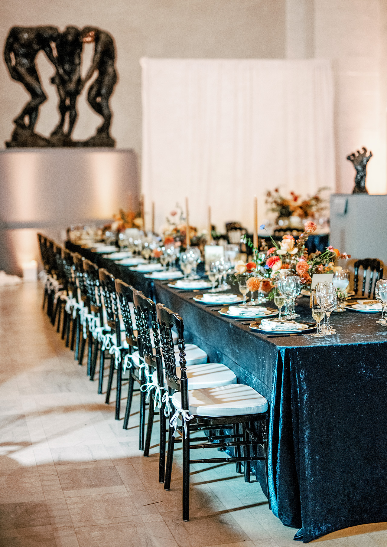 wedding reception tables blue-velvet table cloth