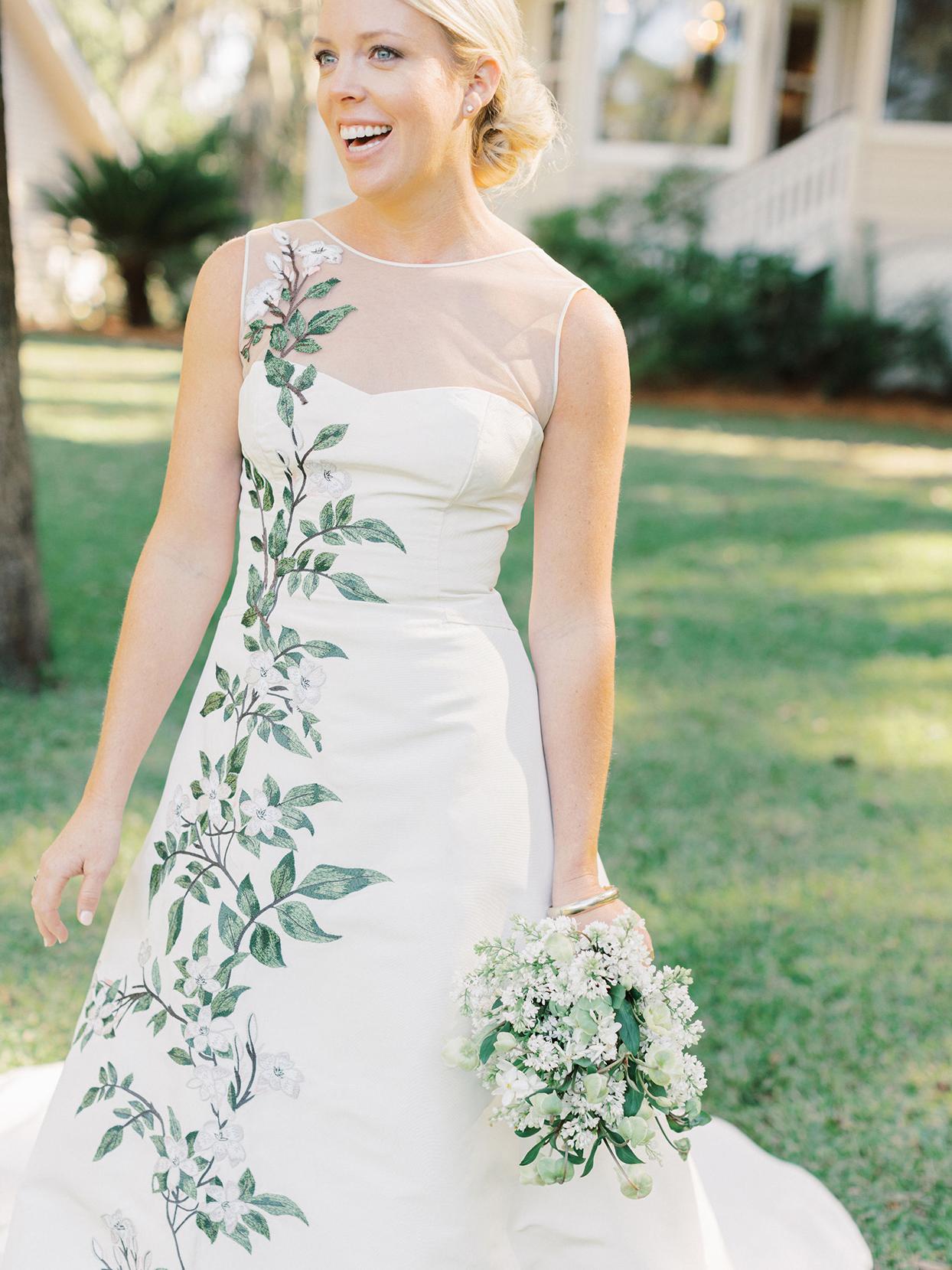 megan parking wedding bride in white dress with vining floral pattern