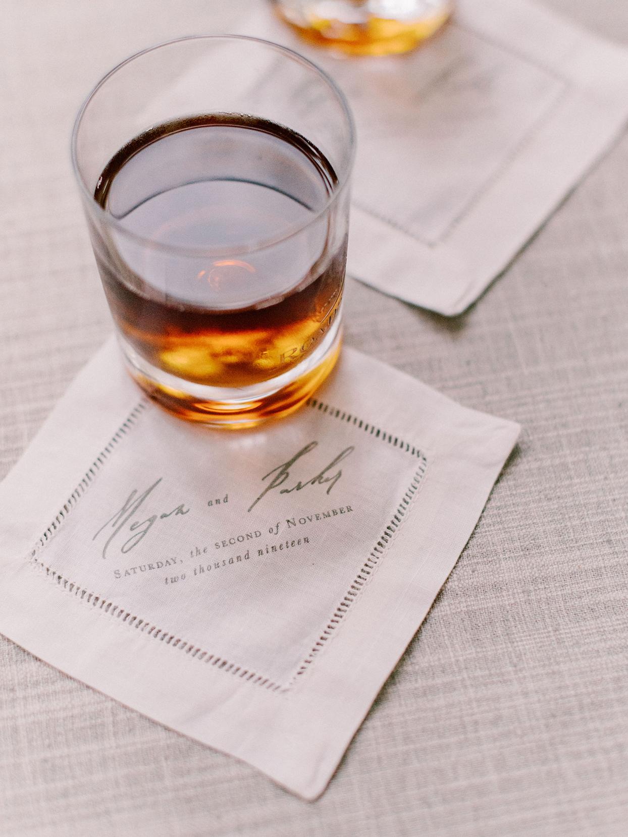 megan parking wedding rocks glass on customized reception cocktail napkins