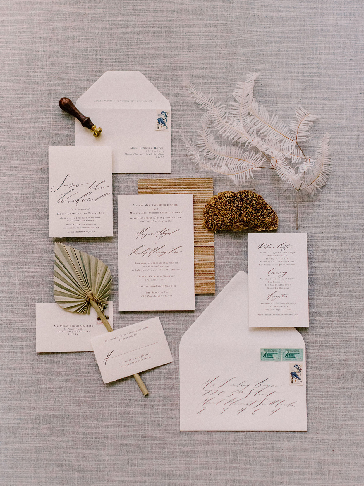 megan parking wedding neutral tones elegant invitation suite