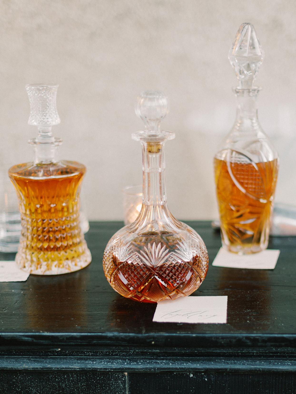 megan parking wedding ornate glass bottles of liquor