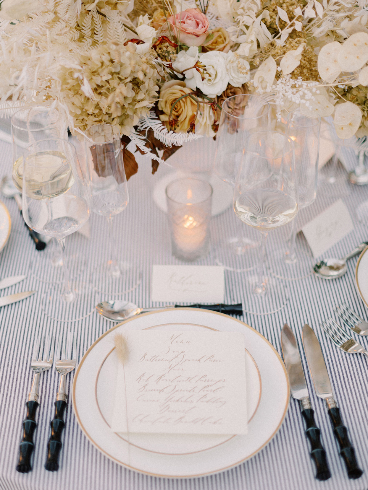 megan parking wedding elegant place settings at reception