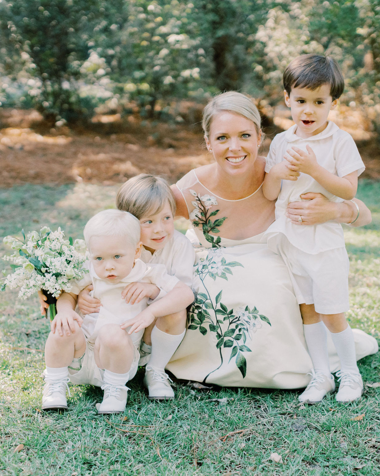 megan parking wedding bride with ring bearers