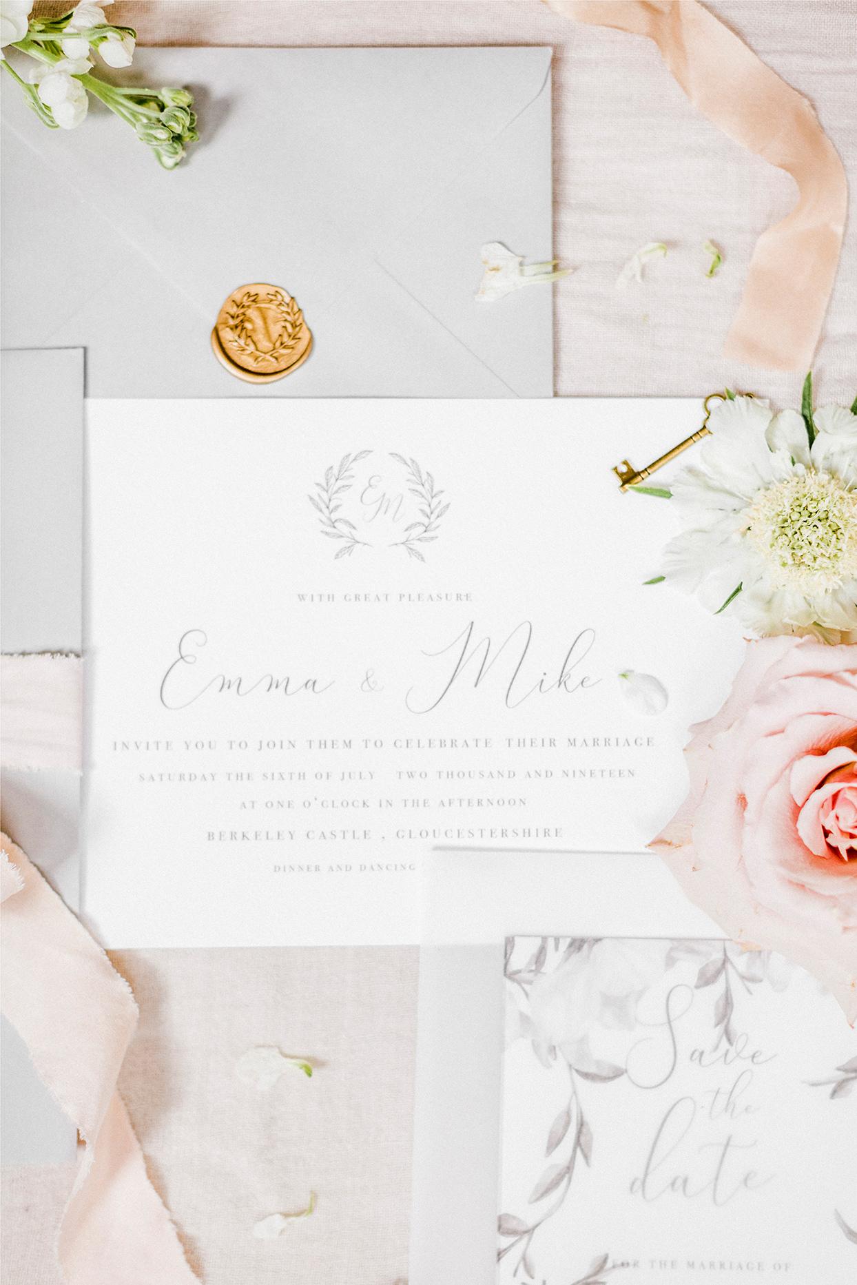 pastel elegant scripted wedding invites