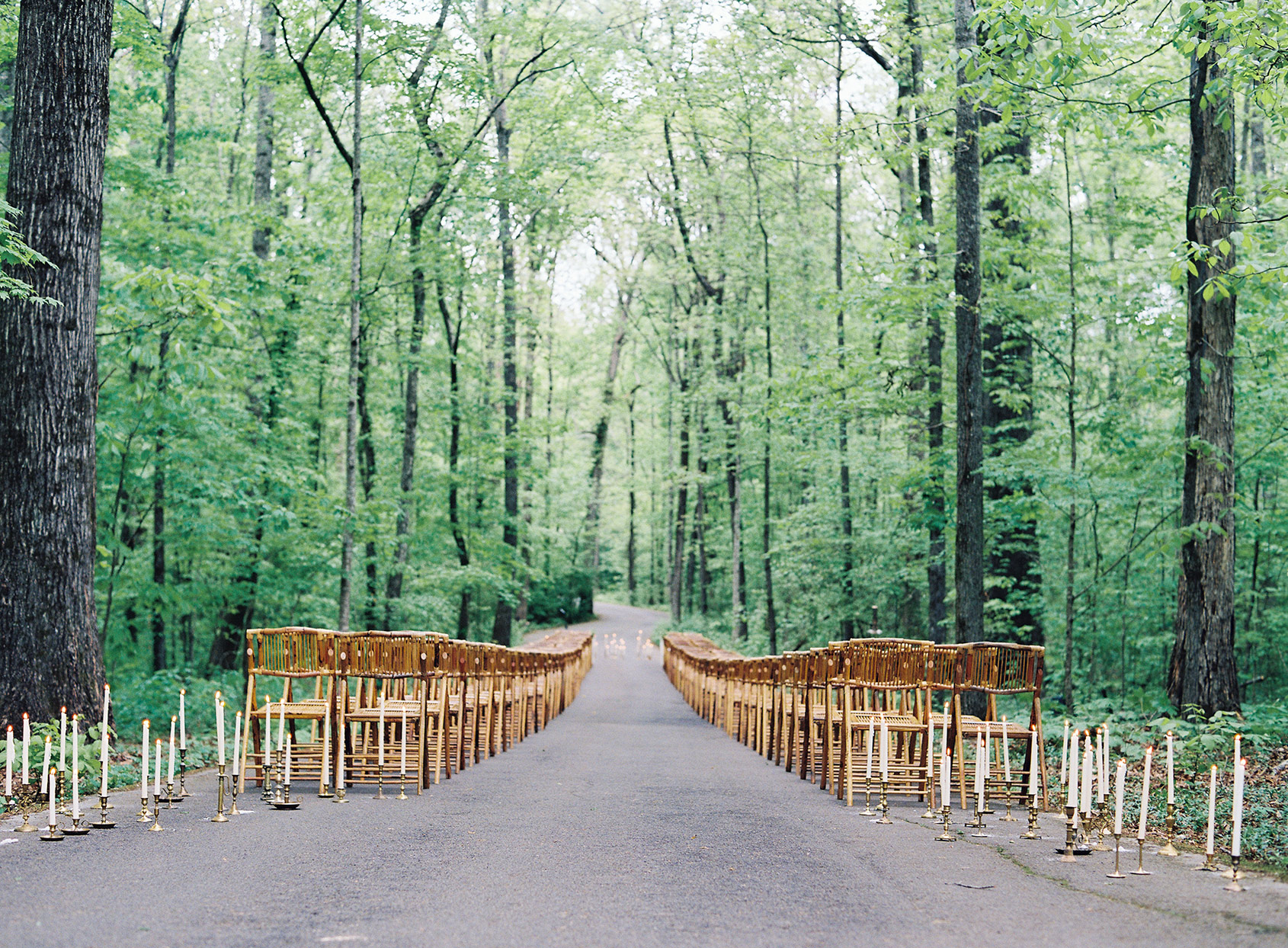 wooden chairs set up on forest path for ceremony