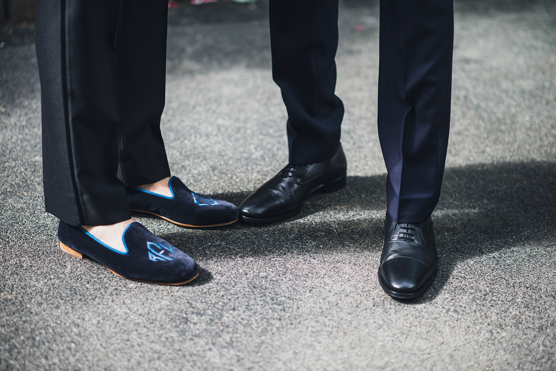 wedding grooms black and blue shoes