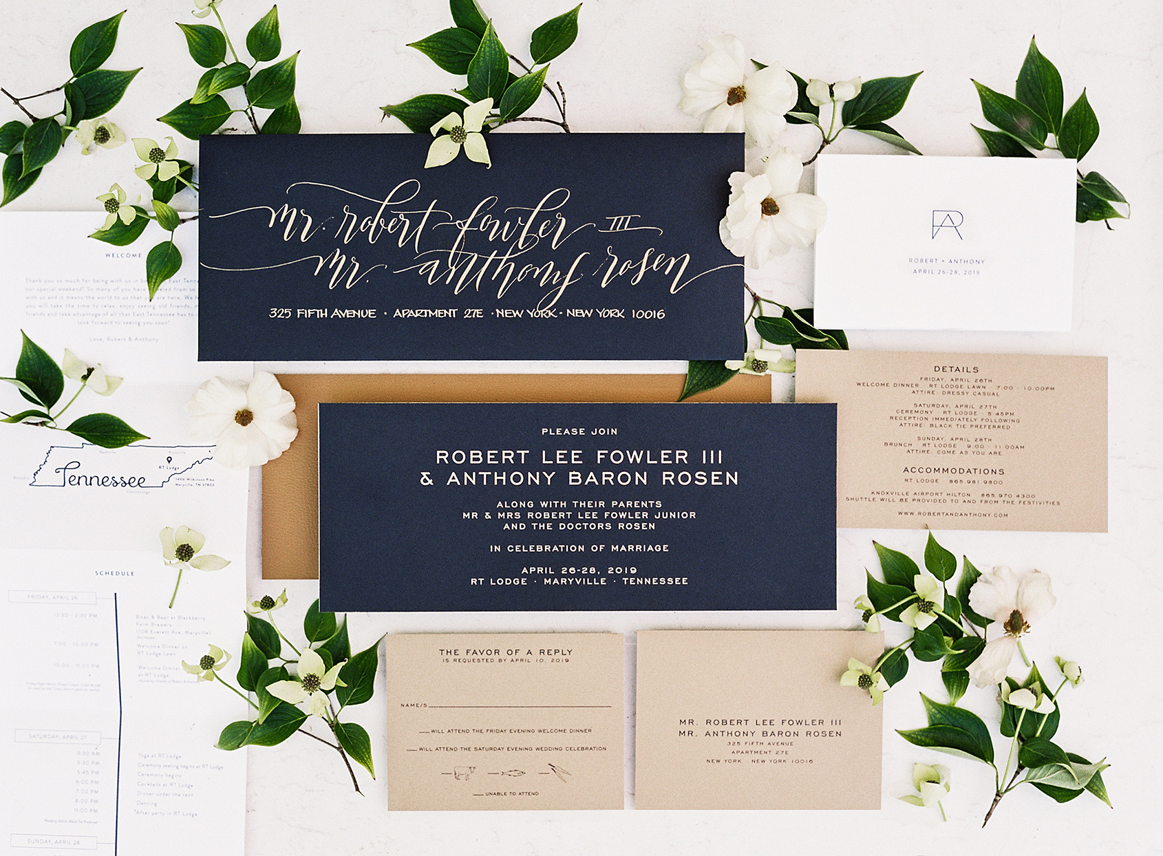 blue and tan wedding invites with flowers