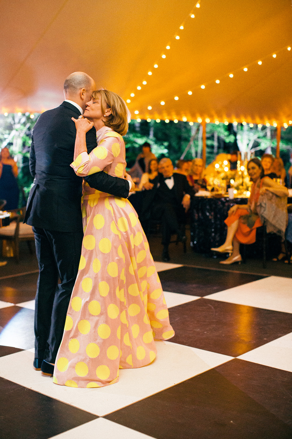 robert anthony wedding mother and son dance in reception tent